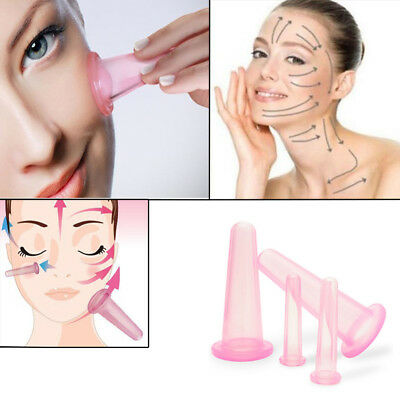 4pcs Silicone Anti Cellulite Massage Vacuum Cupping Body Facial Cups Therapy EG