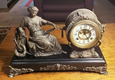 "Antique New Haven ""Clotho"" Copper Mantle Clock circa 1900"