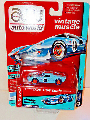 2018 Auto World Vintage Muscle Gulf Blue 1965 Ford Gt40 Rel 4 Ver A