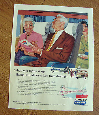 1954 United Air Lines Ad When you Figure it up Flying Costs less than Drving