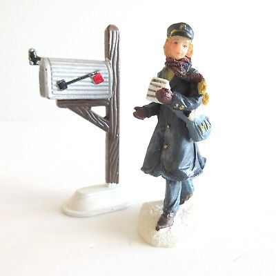 Female Mail Carrier Postal Metal Mailbox 2 pieces Christmas Village Accessories