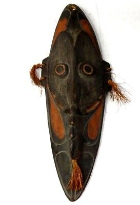 "Vintage New Guinea Mask Hand Carved Wood Hand Painted Antique 23"" Tall"