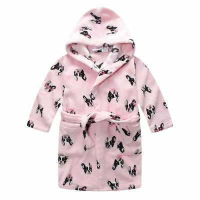 Pyjamas Girls Coral Fleece Dressing Gown Robe Pink Puppies Size 0 LAST ONE