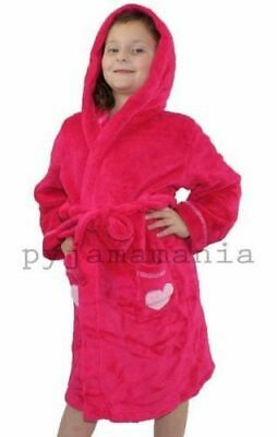 Pyjamas Girls Coral Fleece Hooded Dressing Gown Robe Hot Pink Size 0 LAST ONE