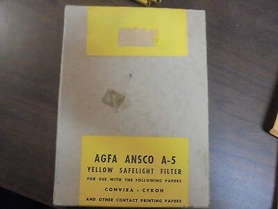 VINTAGE AGFA ANSCO A-5 Yellow Safelight Filter