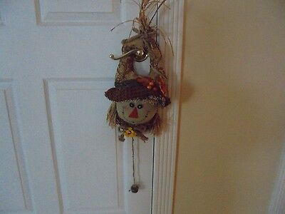 Thanksgiving Holiday Door Knob Hanging Scarecrow with Straw Hair & Bells 13' L