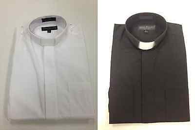*EVERY SIZE* Mens Clerical Clergy Preacher Pastor Tab Collar Shirt Short Sleeves