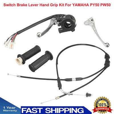 Switch Brake Lever Hand Grip Throttle Cable Kit Black For YAMAHA PY50 PW50 AU