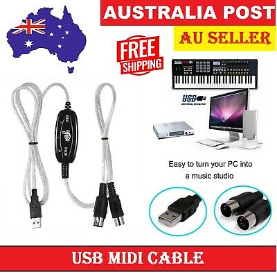 New USB MIDI Interface Converter Cable to PC Music Keyboard Adapter Cords INOUT
