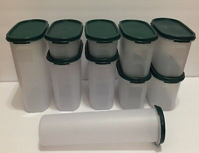 Tupperware ~ Set Of 5 Modular Mate Oval Containers 1 2 3 4 ~ Hunter Green Seals
