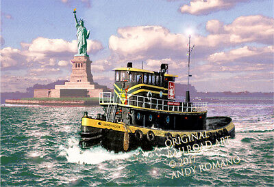 "CNJ TUG BOAT ""SANDY HOOK,"" ART BY ANDY ROMANO LIMITED 1st EDITION R14-111"