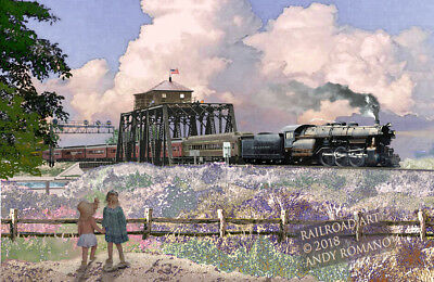 PRSL TRAIN AT ATLANTIC CITY NJ, ART BY ANDY ROMANO LIMITED 1st EDITION R18-414