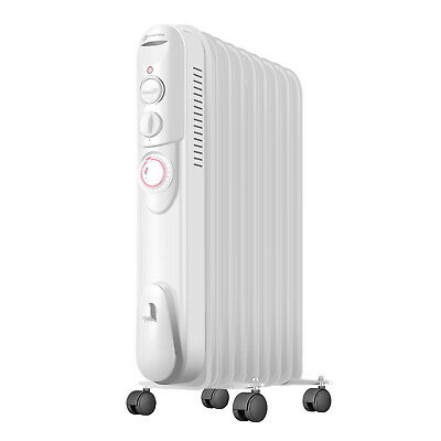 84c1979fa40 2500W 9 Fin Oil Filled Radiator Portable Electric Heater Thermostat with  Timer