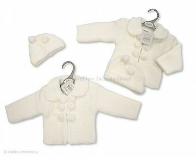 Baby Boy Girl Spanish Style knitted pom pom Coat Hat White NB 0-3 3-6 months