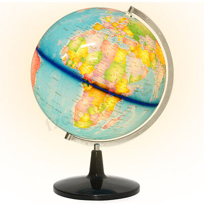 32CM LED Rotating Earth Globe World Map Metal Swivel Geography Educational Toy