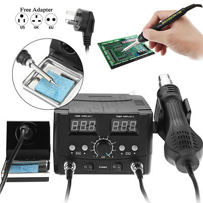 LCD Iron Soldering Desoldering Rework Solder Station Hot Air Heater Kit Tool !