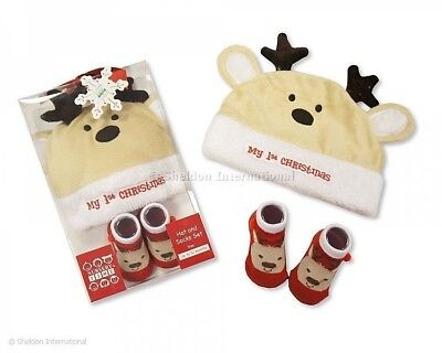Baby Boys Girls My 1st Christmas Gift Reindeer Hat & Socks Set up to 12 months