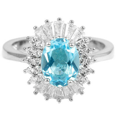 Genuine 9X7 Mm. Aaa Swiss Blue Topaz & White Cz Sterling 925 Silver Ring Size 8