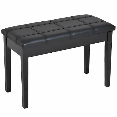 HOMCOM Piano Storage Bench Faux Leather Padded Two Person Lift Top Stool Black