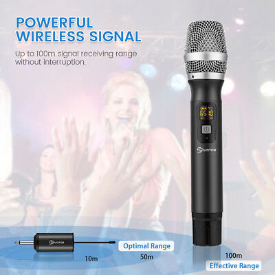 UHF 25 Channel Wireless Handheld Microphone For KTV Singing Speech +Receiver US