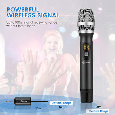 UHF 25 Channel Wireless Handheld Microphone System With Receiver Karaoke Singing