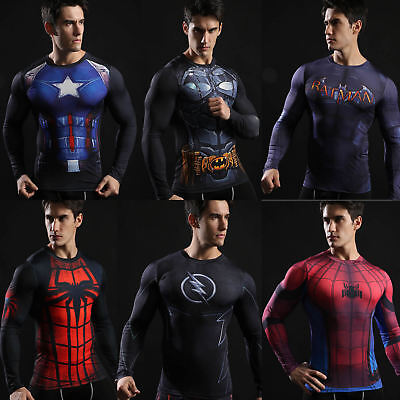 Men's Marvel Superhero Athletic T Shirt Tights Compression Long Top Jersey Tee