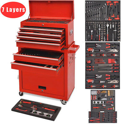 7 Layers Tool Trolley with Tools Workshop Storage Cabinet Chest Box Carrier Lock