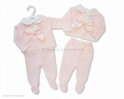 Baby Girl Knitted Spanish Romany Style Two piece set Pink Newborn 0-3 3-6 month
