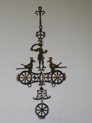 Antique brass / Iron wall hanging cross 2 Birds gothic Orthodox Church very old