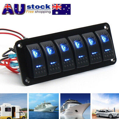 6 Gang Switch Panel ON-OFF Toggle Fit For Marine Truck Camper Car Boat Blue LED