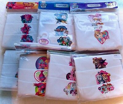 Girls Disney Characters Sleeveless Vest 3 x Pairs Multi Pack 100% Cotton 3-8 YRS