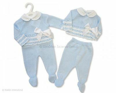 Baby Boy Knitted Spanish Romany Style Suit set  Blue Newborn 0-3 3-6 months