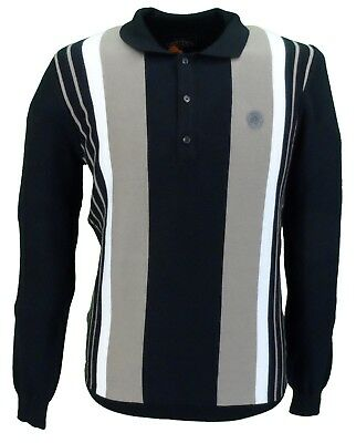 Trojan Records Black Long Sleeved Fine Gauge Knitted Polo Shirt