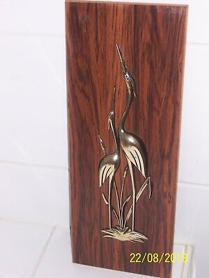 Vintage/Art Deco /retro - Wood Wall Hanging with Gold Cranes