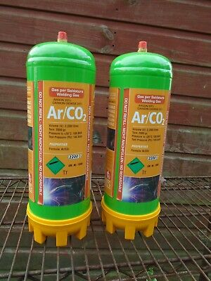 2 x Argon / Co2 Disposable Gas Bottle 2.2 Ltr Cylinder @ 100 bar E892