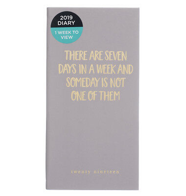 WHSmith 2019 Slim There Are 7 Days Diary Week to View 170.0 x 85.0 x 10.0 mm