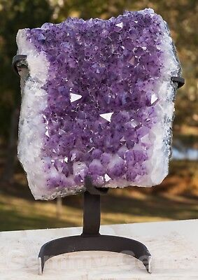 C0530 13.15lbs XL Amethyst Geode Quartz Crystal Cluster on Stand Decor Cathedral