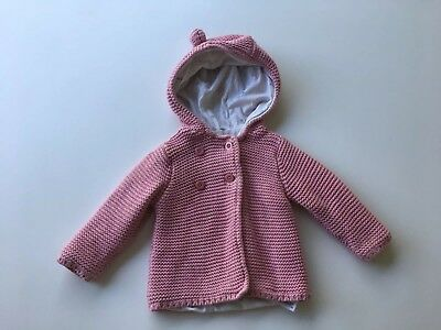M&S Baby Girl Knitted Pink Hooded Cardigan Winter Jacket 3-6 Months