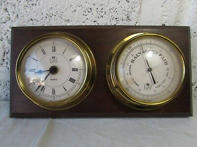 Antique Wood Mounted Brass Porthole Barometer & Clock Vintage GB Ship Nautical +