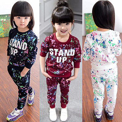 2PCS Kid Baby Girls Clothes Long Sleeve Top Sweatshirt Tracksuit+Pants Outfit AB