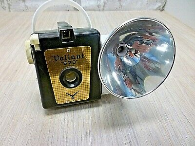 """Antique/Vintage  Box Camera Valiant """"620"""" with a rarity a side flash Accessory."""