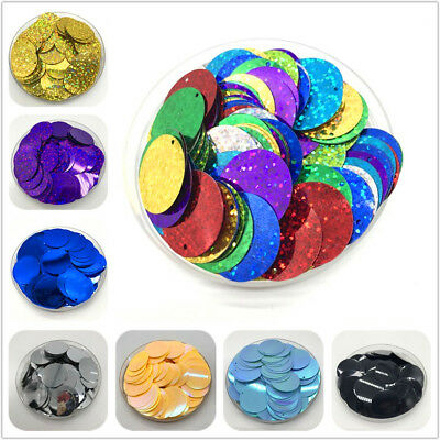 200Pcs 25mm Colorful Large Sequins With 1 Side Hole PVC Flat Round Loose Sequin