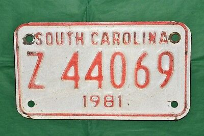 Fine, Authentic 1981 81 SOUTH CAROLINA, SC Motorcycle License Plate, Tag Z 44069