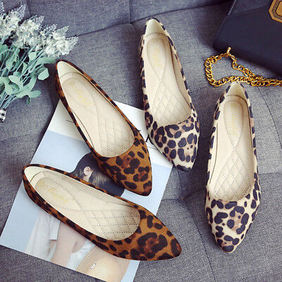 42ecec27016a Women Fashion Suede Leopard Print Flat Shoes Pointed Casual Breathable Shoes