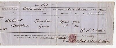1874 Burial certificate Milicent Humphries Turnham Green Chiswick Middlesexx