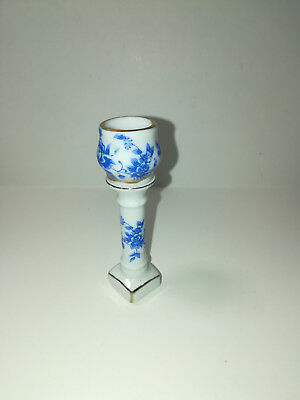 Dollhouse Miniature Pedestal with Vase Jardiniere 1:12 Scale Blue & White