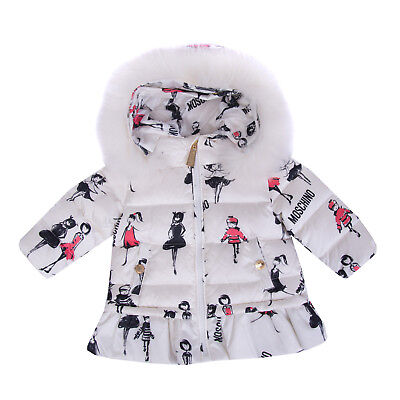 MOSCHINO Down Quilted Jacket Size 3-6M / 60 CM Fur Trim Printed Hooded RRP €305