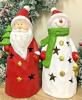 Ceramic Snowman or Santa Claus Christmas Tea Light Candle Holder 2776