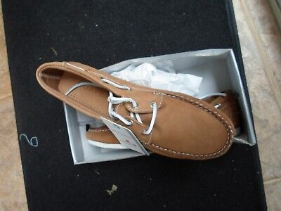 Quayside Milo Leather Deck Shoes Size Uk 8  Rrp £99.99