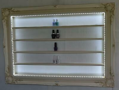 nail polish beauty display frame french style vintage cream with LED lighting